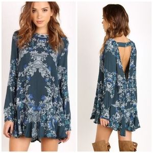 Free People Boho Floral Open Back Tunic Dress